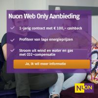 Nuon Web Only Actie : € 100,- cashback